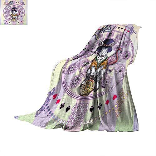 Animal Weave Pattern Extra Long Blanket Alice in Wonderland Rabbit and Cat Fiction Story Novel Child Display Story Custom Design Cozy Flannel Blanket 90