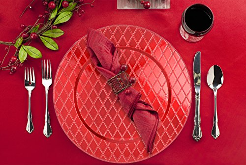 Red Diamond Pattern 13'' Round Plastic Charger Dinner Plates by bogo Brands (Set of 4) by bogo Brands (Image #2)