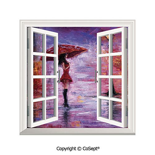 (SCOXIXI Open Window Wall Mural,Oil Painting Style View Young Woman with Umbrella on Street Rainy Night,for Living Room(26.65x20 inch))