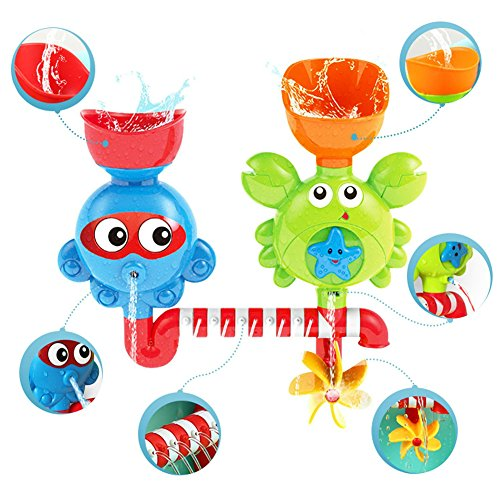 (Sytle-Carry Toddler Bath Toys Baby Toys - Waterfall Bath Toys for Toddlers Water Shower Toy with Strong Suction Cups Bathtub Toy Set for 1 2 3 Year Old Boys Girls Kids)