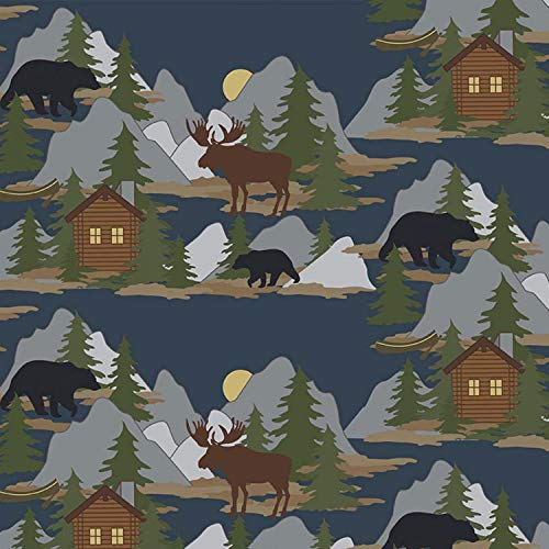 Cabin Scene Flannel by Sugar Sisters from Riley Blake Designs 100% Cotton Flannel Fabric - by The Yard F7147R-Navy Moose Bear (100 Cotton Flannel Fabric By The Yard)
