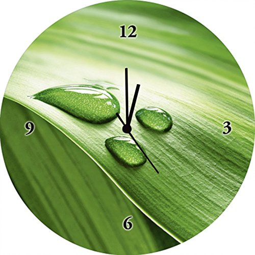 Artland Qualitätsuhren I Funk Wanduhr Designer Uhr Glas Funkuhr Größe: 35 Ø Blätter Grün G2VS