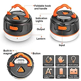 AKALULI Rechargeable LED Camping Lantern, Portable USB Camping Tent Light/Power Bank 5200mAh 2 in 1 Design, IP65, Magnet Base, 5 Light Modes – Survival Kit for Emergency, Hurricane, Power Outage