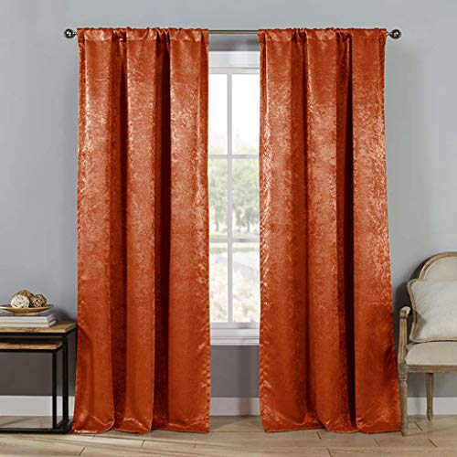 Duck River Textiles - Steena Metallic Linen Textured Pole Top Window Curtains for Living Room & Bedroom - Assorted Colors - Set of 2 Panels (27-28 X 84 Inch - Spice) ()