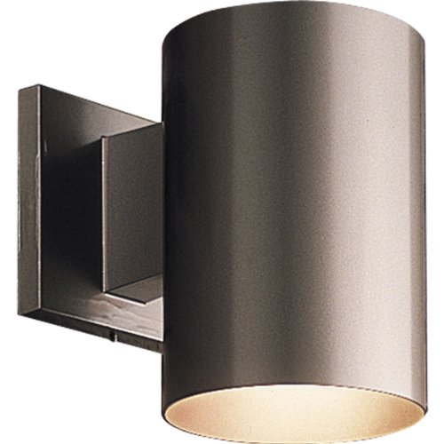 Porcelain Brass Sconce (Progress Lighting P5674-20 5-Inch Cylinder with Heavy Duty Aluminum Construction and Die Cast Wall Bracket Powder Coated Finish UL Listed For Wet Locations, Antique Bronze)