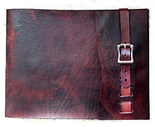 Large Refillable Leather Sketchbook with Antique Brass Metal Roller Buckle, Mahogany. Journal, Drawing Book, Leather Bound, Album by ZenfishLeather