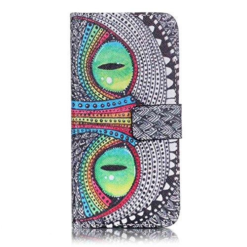 Voguecase® Pour Apple iPhone 7 Coque, Étui en cuir synthétique chic avec fonction support pratique pour Apple iPhone 7 (yeux verts)de Gratuit stylet l'écran aléatoire universelle