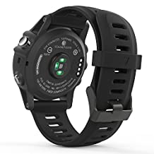 Garmin Fenix 3 Accessories, MoKo Soft Silicone Replacement Watch Band for Garmin Fenix 3 / Fenix 3 HR / Fenix 5X Smart Watch - BLACK