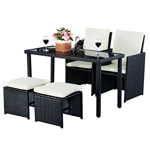 3 Piece Small Sectional - TANGKULA Patio Furniture Outdoor Wicker Rattan Dining Set Cushioned Seat Garden Sectional Conversation Sofa with Glass Top Coffee Table (5pcs black)