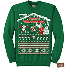 Vintage Fly Mens Ugly Christmas Sweater Santa's Twerkshop Pullover Sweatshirt