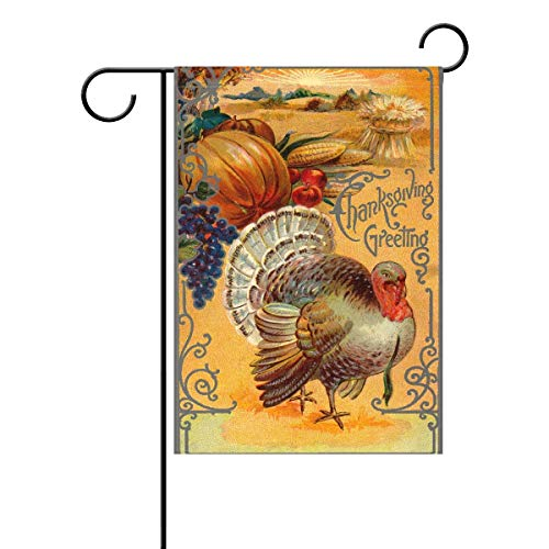 XGUPKL Harvest Thanksgiving Holiday Polyester Garden Flag, Turkey Vintage Style Decorative Yard Flag for Party Home Outdoor Decor Size: 12.5-inches W X 18-inches H