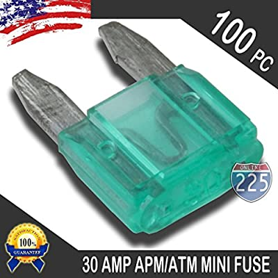 100 Pack 30 AMP APM/ATM 32V Mini Blade Style Fuses 30A Short Circuit Protection Car Fuse: Home Improvement