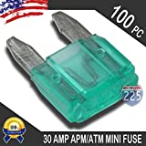 100 Pack 30 AMP APM/ATM 32V Mini Blade Style Fuses 30A Short Circuit Protection Car Fuse