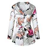 Moxeay Women Long Sleeve Floral Print Satin Silk Button Down Shirt Dress with Belt (S, White)