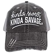 R2N fashions Women's Baseball caps Kinda Sweet Kinda Savage Trucker Style hat Black/Grey