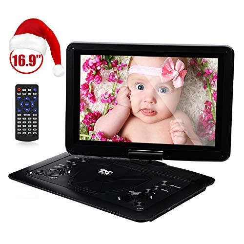 YOOHOO 16.9 Portable CD/DVD Player for Car with 14.1 270°Swivel High Definition LCD Screen,6 Hours Rechargeable Battery,Supports SD Card/USB/CD/DVD (Black)
