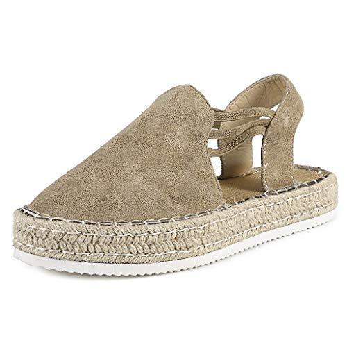 (Womens Espadrille Wedges Platform Slip On Retro Sandals Summer Fashion Round Toe Slingback Comfy Walking Travel Shoes (Khaki, US:7.5=Foot Length:25cm/9.8