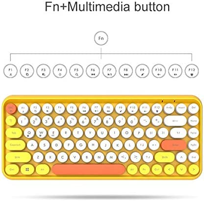 Color : Pink QYLLXSYY Wireless Bluetooth Keyboard Mini Round Button Gaming Keyboard Computer Keypad Keyboard