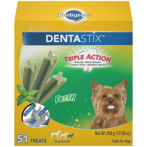 (Pedigree Dentastix Toy/Small Dental Dog Treats Fresh Flavor, 12.66 Oz. Pack (51 Treats), Makes A Great Holiday Dog)