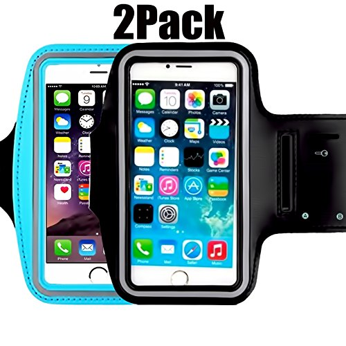 [2pack] Armband 5.2 Inch Case for iPhone X,8,7,6,6S,SE,5C,5S,and Galaxy S5,Google Pixel [Water Resistant] Sports Exercise Running fitness exercise gym Pouch reflective with Key Holder (black+blue)
