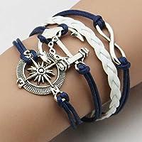Kyeo Bracelet ancre de mode plaqué argent bracelet de cuir artificiel bricolage hommes femmes bijoux cadeau