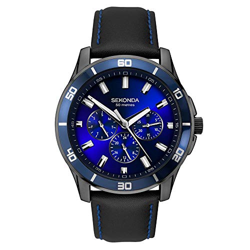 Sekonda, Men's Contemporary Midnight Blue Analog Quartz Watch, Multifunction Chronograph, Gun Metal Plated case with Blue Sunray dial with batons, Day, Date, 24 hr on Black Leather - Hr Dial 24