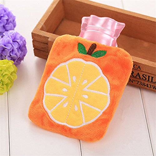 Cute Plush Cartoon Thick Hot Water Bottle Bag Warm Relaxing Heat Cold Therapy Orange