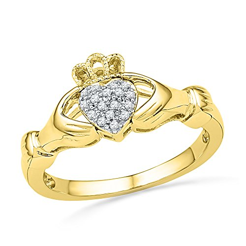 10kt Yellow Gold Womens Round Diamond Claddagh Hands & Heart Cluster Ring 1/20 Cttw (I2-I3 clarity; J-K color)