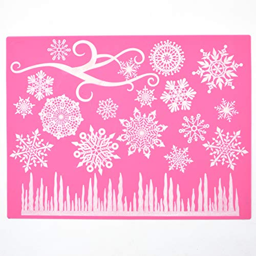Food Grade Snowflake Patterns Silicone Lace Fondant Cake Border Decoration Mold]()