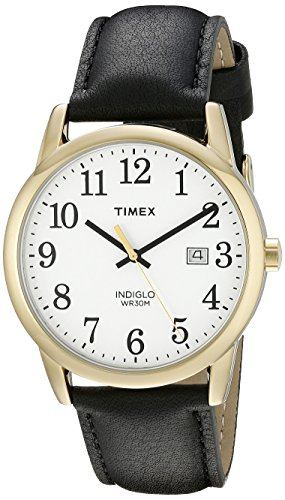 Timex Men's TW2P75700 Easy Reader Black/Gold-Tone Leather Strap Watch - Leather Brass Wrist Watch