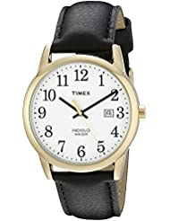 Timex Mens TW2P75700 Easy Reader Black/Gold-Tone Leather Strap Watch