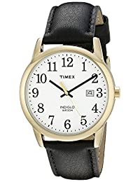 Timex Men's TW2P757009J City Collection Gold-Tone Watch with Black Faux-Leather Band