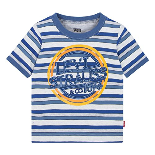Levi's Baby Boys' Ringer T-Shirt, Dutch Blue/Gray Heather Stripe, 6/9 Months