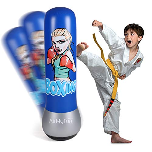 AirMyFun Inflatable Boxing Toy for Kids & Adults, Punching Bag for Entertaining, Cartoon Character Theme Boxing Bag