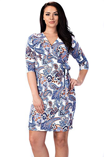 Betsy Red Couture Women's Plus Size Floral Wrap Dress (3X, Ivory Paisley)