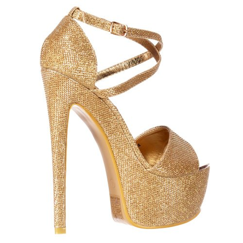 Onlineshoe High Riemchen Glitter Schuhe Gold Frauen Damen Over Stiletto Cross Heel Platform Partei qq6OFnS