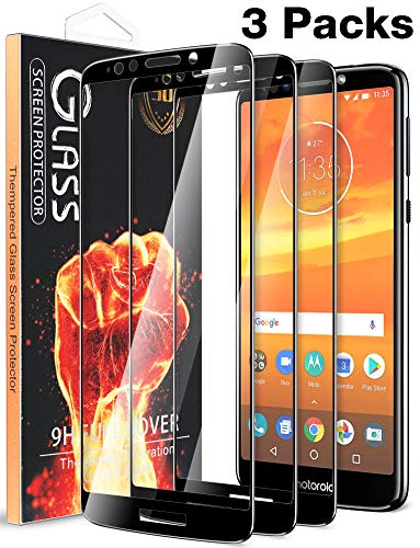[3 Pack] Fnova for Motorola Moto E5 Plus/Moto E5 Supra Screen Protector Tempered Glass, Full Screen Coverage, 9H Anti Scratch, Bubble Free, Lifetime Replacement Warranty (Black)