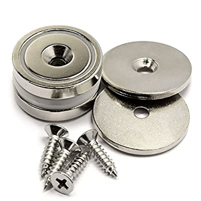 """Two Sets of CMS Magnetics 1.26"""" Neodymium Cup Magnets w/ Matching Strikers and Screws - 70 LB and Up to 88 LB Holding Power"""