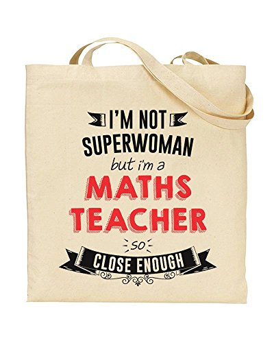 Handbag Gift Not Teacher a Bag I'm by Superwoman So Novelty TOTE MATHS I'm Shopping But Enough TEACHER TeeDemon Gift Close fxq6p
