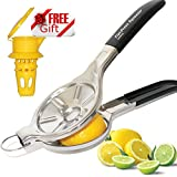 PATENT PENDING EcoJeannie Jumbo Size FLAT PRESS 100% Stainless Steel Lemon Squeezer for Pressing lemon-half FLAT, with Silicone Handle Cover, Lemon Juicer, Lime Squeezer (LS0003S) + Free Citrus Tap