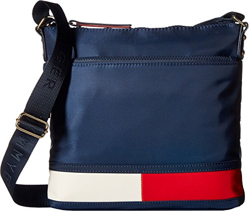 Tommy Hilfiger Women's Nori Flag Large Nylon Crossbody Tommy Navy One - Tommy Hilfiger Height