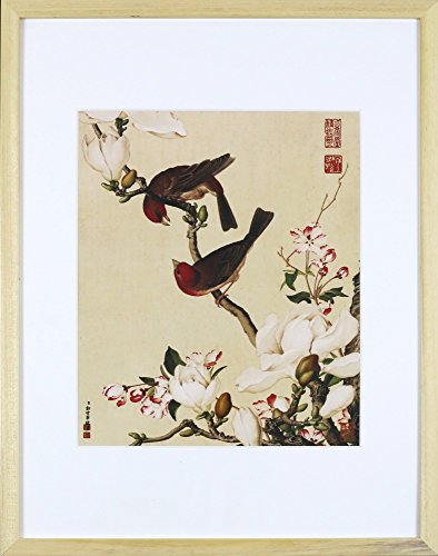 IglooArts- Giclee Print of Ancient Asian Paintings - Magnolia and Birds - Lang Shining - Price Cut by 30% for Holidays - Framed and Ready to Hang - 19