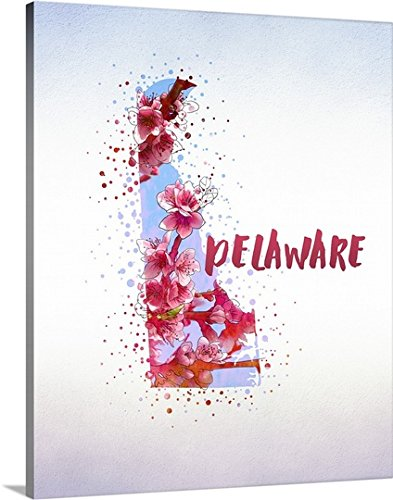 Inner Circle Gallery-Wrapped Canvas entitled Delaware State Flower (Peach Blossom) by greatBIGcanvas