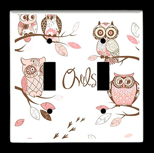 Amazon Com Double Toggle 2 Toggle Light Switch Plate Cover Owls Owl Pattern Gs4578 Handmade