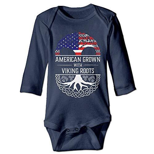 MzuII23oIt American Grown Viking Roots Baby Boys Cotton Bodysuits Onesies Long-Sleeve Bodysuit -