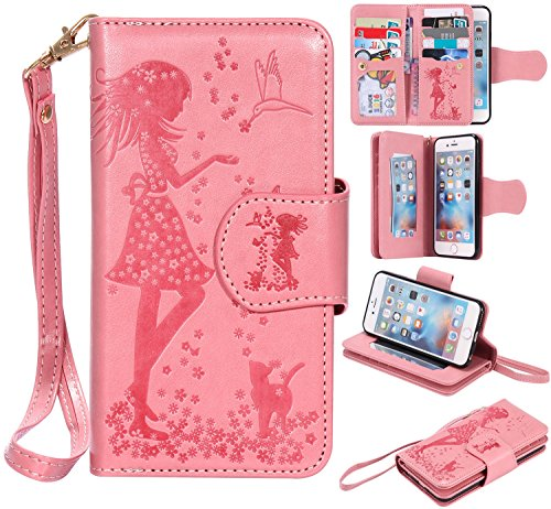 Dig dog bone Cellphone Covers Pressed Flowers Embossed Girl And Cat Pattern PU Leather Case Cover With Hand Strap & 9 Card Slot Photo Frame For iPhone 6S Plus Protect cellphone (Color : Pink) -