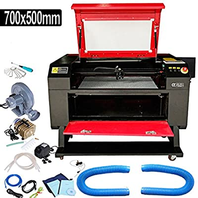 Iglobalbuy 700X500mm 100W CO2 Laser Engraving Cutting Machine Engraver Cutter CE FDA W/LCD Control Panel ,USB Port ,Cylinder Rotary Axis,Water Pump for Woodworking/Crafts
