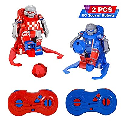 RC Soccer Robots for Kids,RELACC Kids Toys Set with 2 Goals Gift Football 2.4G Remote Control Robot Set Soccer Ball Robot LED Eyes,Indoor Outdoor Fun Sport Ball Games for Boys and Girls.