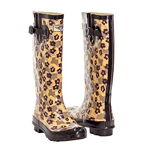 Forever Young Women's Puddles Rubber Rain Boot - Safari Collection (10, Animal Camo - Tall)