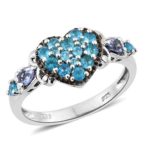 925 Sterling Silver 0.8 cttw Pear Tanzanite, Neon Apatite Heart Ring Size (Apatite Sterling Silver Ring)